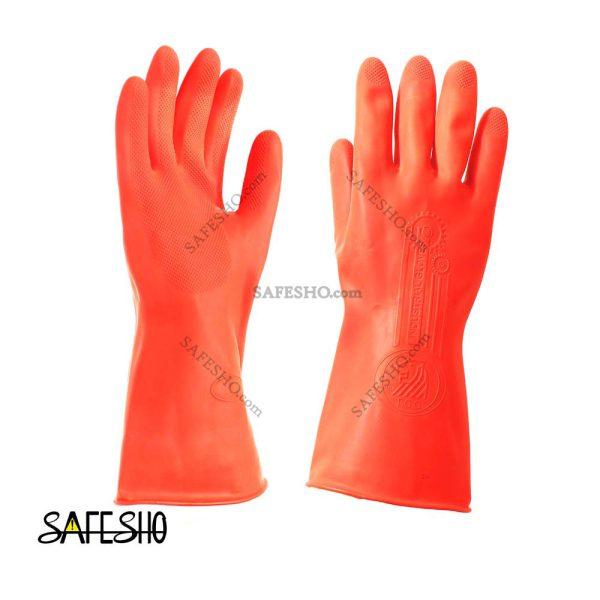 دستکش لاستیکی قرمز صنعتی تکنسین