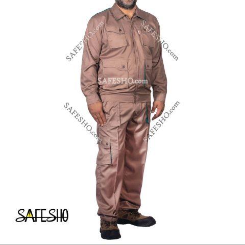 لباس کار اف ورک Fworkکرم شکلاتی-فیروزه ای