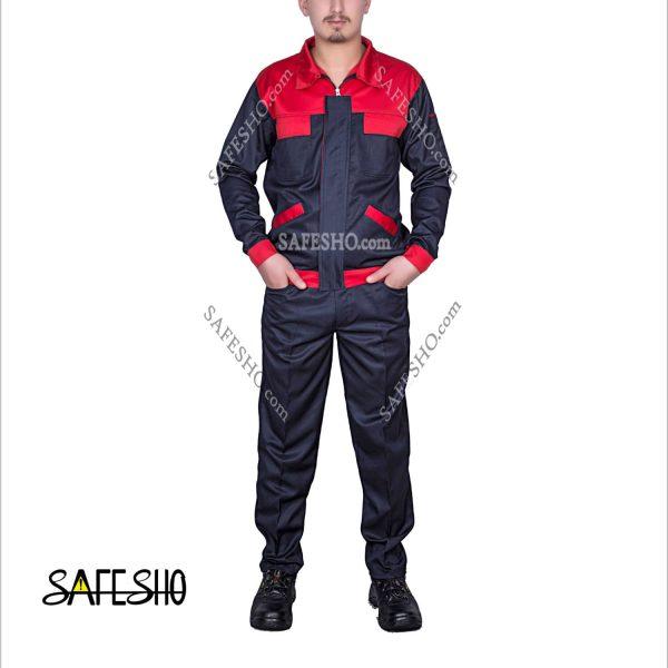 لباس-کار-مدل-کلاسیک-بی-Classic-B-سورمه-ای--قرمز