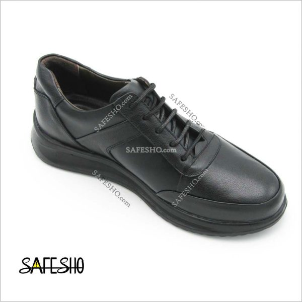 کفش چرم راحتی مشکی پاژند مدل رادین