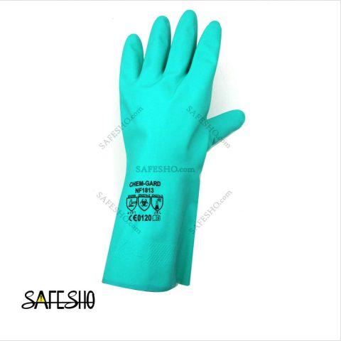 دستکش ایمنی ضد حلال(نیتریل) کمگارد chem gard