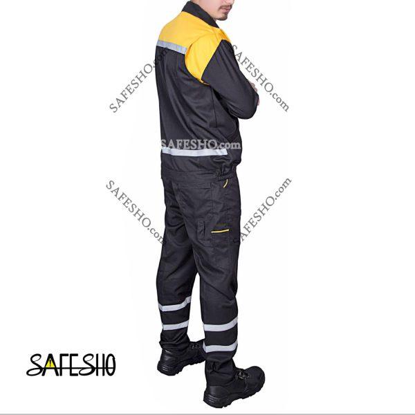 لباس کار مدل مترو Metro مشکی-زرد