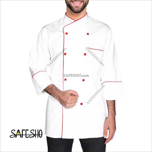 روپوش سرآشپزی سفید با مغزی قرمز (کلاسیک 5)