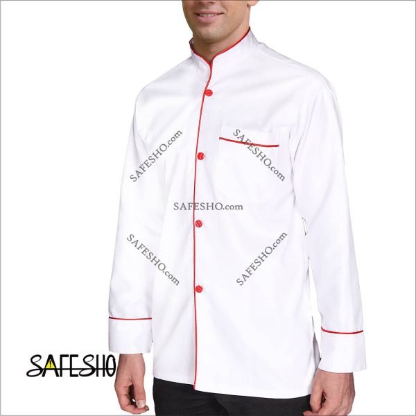 روپوش رستورانی سفید با مغزی قرمز